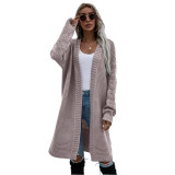 Solid Cameo Open Front Knitted Long Cardigan TQK271242-47
