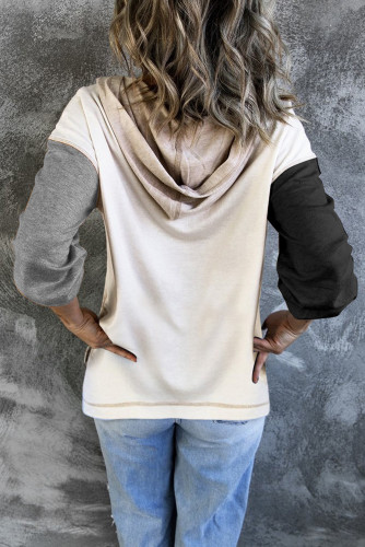 Gray Colorblock V Neck Long Sleeve Hoodie LC2538098-11