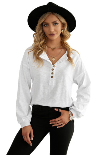 White Solid Color Buttoned Front Long Sleeve Top LC2518018-1