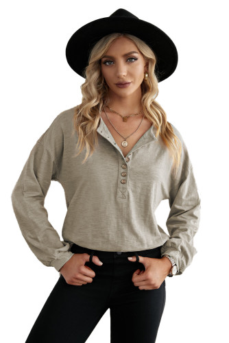 Solid Color Buttoned Front Long Sleeve Top LC2518018-17