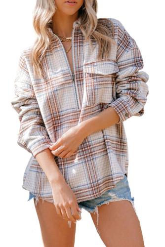 Chest Pocket Plaid Half Zip Sweatshirt LC25110260-18