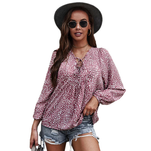 Pink Leopard Print Lace-up Long Sleeve Tops TQK210841-10