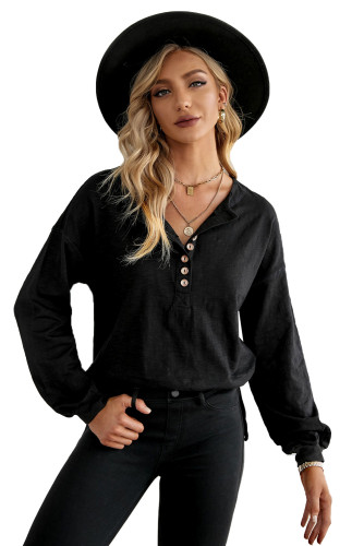 Black Solid Color Buttoned Front Long Sleeve Top LC2518018-2