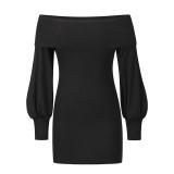 Black Rib Lantern Sleeve Off Shoulder Mini Dress TQK310669-2