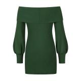 Dark Green Rib Lantern Sleeve Off Shoulder Mini Dress TQK310669-36