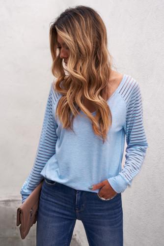 Blue Sheer Stripe V-Neck Top LC2511547-4