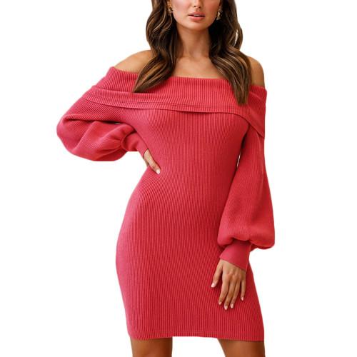 Watermelon Red Rib Lantern Sleeve Off Shoulder Mini Dress TQK310669-63