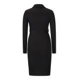 Black Rib Button-up Tie Waist Bodycon Dress TQK310670-2