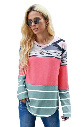 Pink Tribal Striped Long Sleeve T-shirt LC253966-10