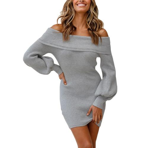 Gray Rib Lantern Sleeve Off Shoulder Mini Dress TQK310669-11