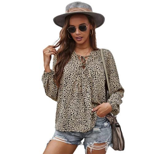 Khaki Leopard Print Lace-up Long Sleeve Tops TQK210841-21
