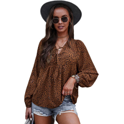 Brown Leopard Print Lace-up Long Sleeve Tops TQK210841-17