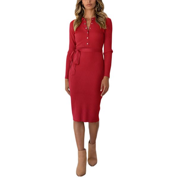 Red Rib Button-up Tie Waist Bodycon Dress TQK310670-3