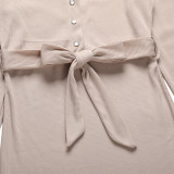 Apricot Rib Button-up Tie Waist Bodycon Dress TQK310670-18