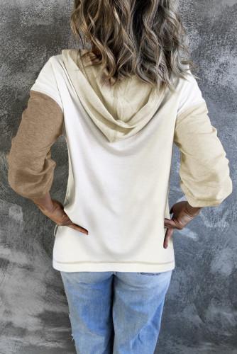 Khaki Colorblock V Neck Long Sleeve Hoodie LC2538098-16