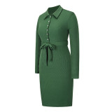 Dark Green Rib Button-up Tie Waist Bodycon Dress TQK310670-36