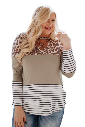 Leopard Colorblock Striped Long Sleeve Plus Size Top LC2518815-19