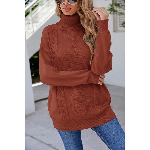 Rust Red High Collor Pullover Sweater TQK271324-33