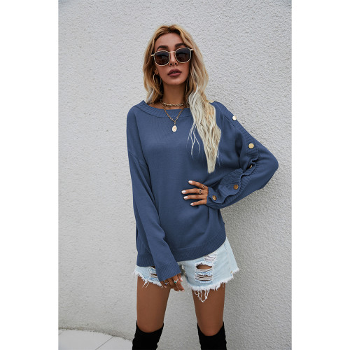 Navy Blue One-side Button Long Sleeve Pullover Sweater TQK271323-34