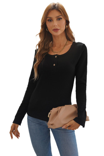 Black Crewneck Buttons Ribbed Knit Long Sleeve Top LC2518410-2