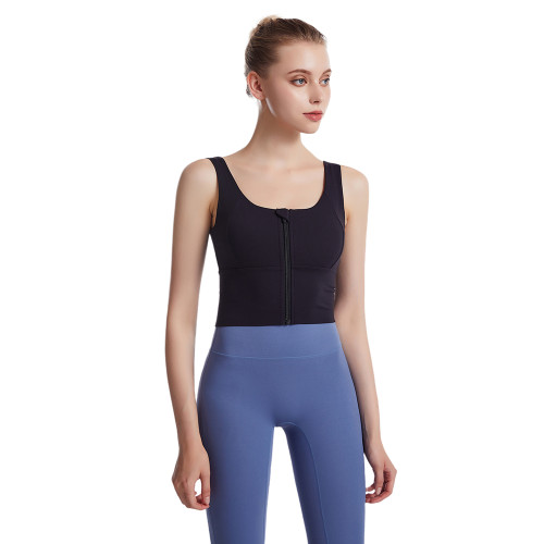 Black Front Zipper Shockproof Sports Yoga Bra TQE19081-2