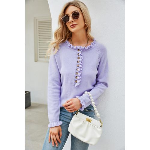Light Purple Button Ruffle Knitted Sweater TQK271322-38