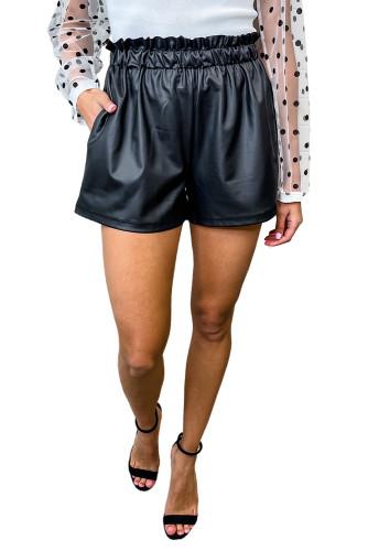 Faux Leather Ruffle Waistband Shorts LC73733-2