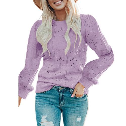 Light Purple Lantern Sleeve Hollow Out Knit Sweater TQK271321-38