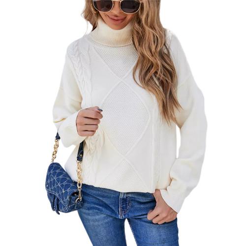 Beige High Collor Pullover Sweater TQK271324-46