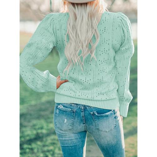 Light Green Lantern Sleeve Hollow Out Knit Sweater TQK271321-28
