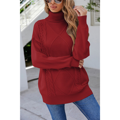 Wine Red High Collor Pullover Sweater TQK271324-23