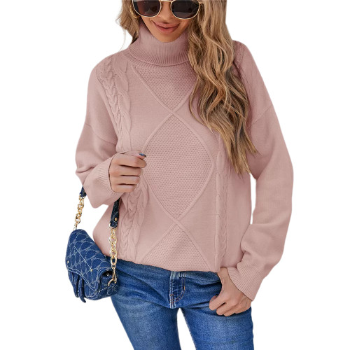 Light Pink High Collor Pullover Sweater TQK271324-39