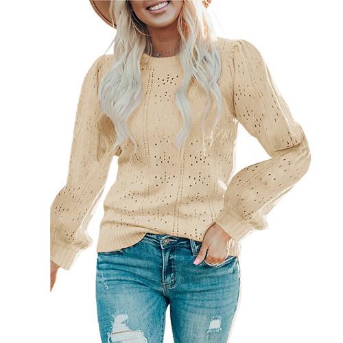 Khaki Lantern Sleeve Hollow Out Knit Sweater TQK271321-21