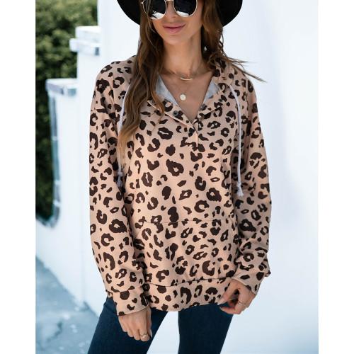 Khaki Leopard Print Button-up Drawstring Hoodie TQK230329-21