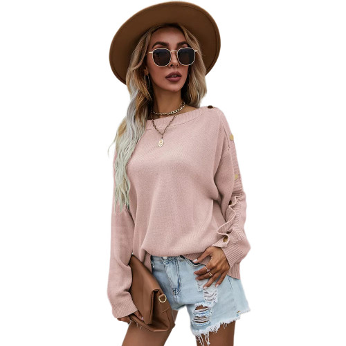 Light Pink One-side Button Long Sleeve Pullover Sweater TQK271323-39