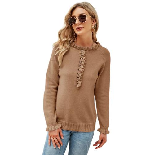 Khaki Button Ruffle Knitted Sweater TQK271322-21