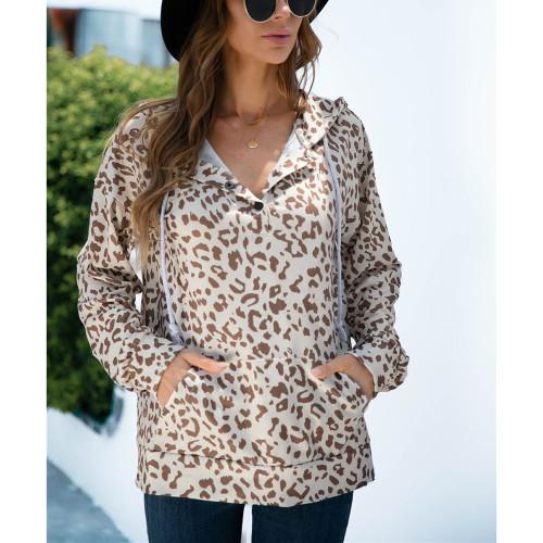 Apricot Leopard Print Button-up Drawstring Hoodie TQK230329-18