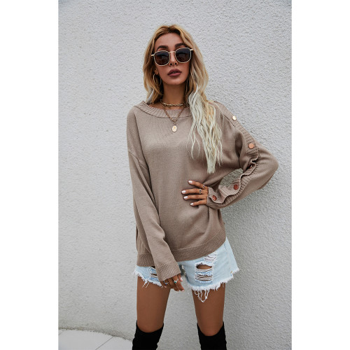 Khaki One-side Button Long Sleeve Pullover Sweater TQK271323-21