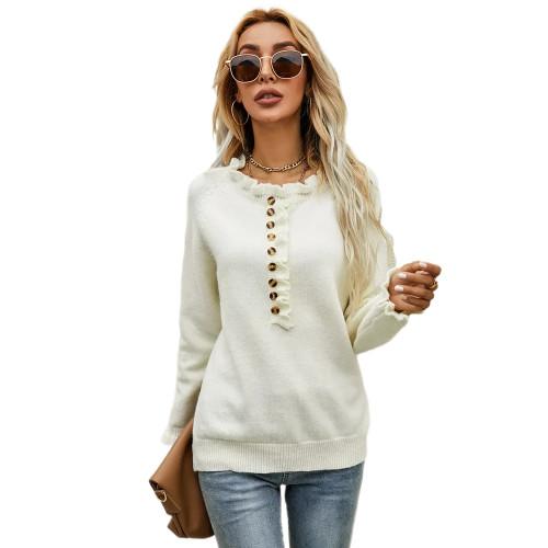 White Button Ruffle Knitted Sweater TQK271322-1