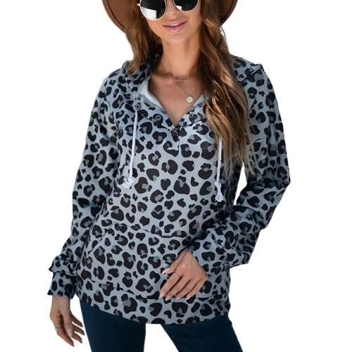 Gray Leopard Print Button-up Drawstring Hoodie TQK230329-11