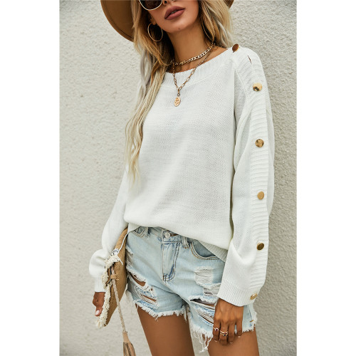 White One-side Button Long Sleeve Pullover Sweater TQK271323-1