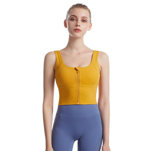 Yellow Front Zipper Shockproof Sports Yoga Bra TQE19081-7