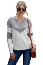 Gray Colorblock V Neck Casual Sweater LC2721113-11