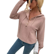 Khaki Button Drawstring Knit Hooded Sweater TQK271331-21