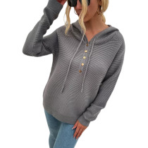 Gray Button Drawstring Knit Hooded Sweater TQK271331-11