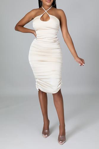 White Shirred Halter Neck Bodycon Midi Dress LC617931-1
