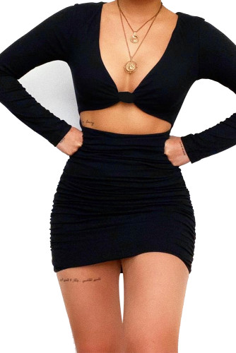 Black Deep V Neck Knotted Ruched Ribbed Knit Club Mini Dress LC229781-2
