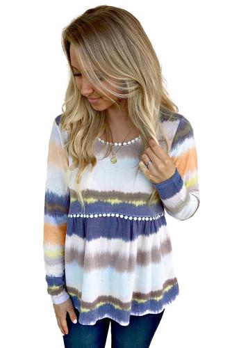 Tie-dyed Print Pom Pom Trim Long Sleeve Top LC25110152-22
