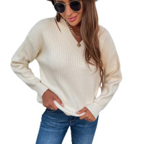Solid Apricot V Neck Hollow Out Sweater TQK271330-18
