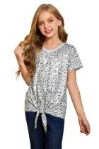 Little Girl Leopard Print T-shirt with Knot TZ25292-20